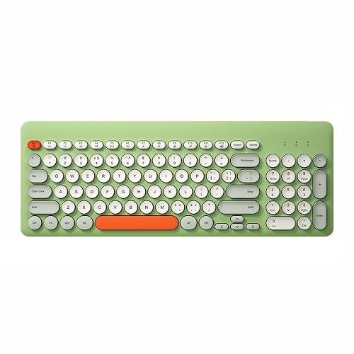 BOW K221 2.4G Беспроводная клавиатура 96 клавиш Круглые колпачки Мини-портативная эргономичная клавиатура для IOS / Windows Зеленый