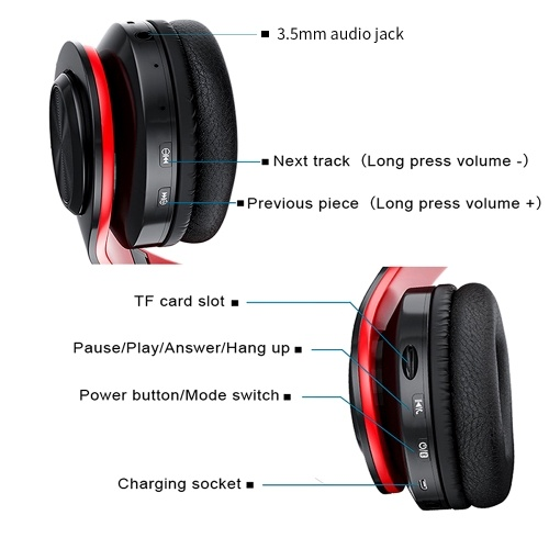 B39 Cute Cat Ear Headset Wireless BT5.0 Foldable Gaming Headphone with Flash RGB lights Earphone TF Card Play/Wired Mode Red