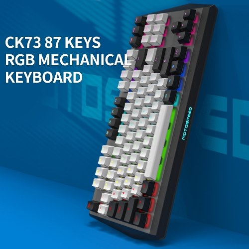 Motospeed CK73 Wired Mechanical Keyboard 87 Keys RGB Gaming Keyboard Ergonomic Keyboard with PBT Keycap Gateron Red Switches