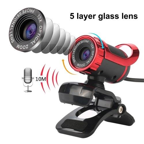 Desktop-Webcam USB 2.0-Webkamera Laptop-Kamera Eingebautes schallabsorbierendes Mikrofon Videoanruf Webcam für PC Laptop Rot