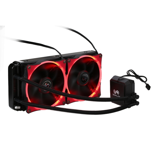SOPLAY Liquid Freezer Water Liquid Cooling System CPU Cooler Hydraulic Bearing 120mm Dual Adjustable PWM Fan with White LED Light