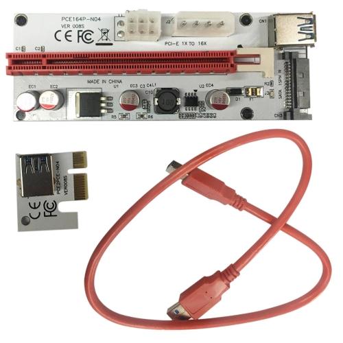 PCI-E 1X a 16X Fiação de transferência de linha de vídeo da placa de mineração de cartão do mineiro