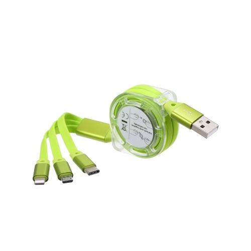 3-in-1-Nudel-Design-Ladekabel Datenkabel MicroUSB Type-C-Datenübertragungskabel