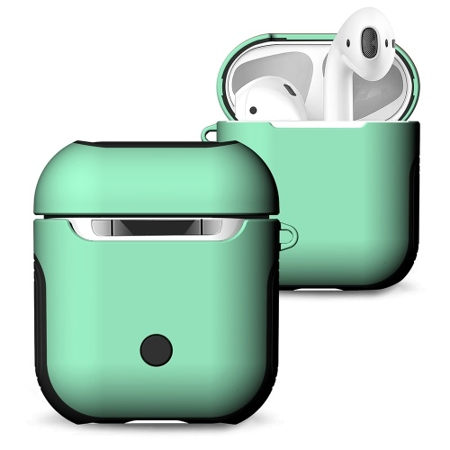 TPU Silicone Earphone Case Protective Cover for Airpods Shockproof Waterproof Protector for Apple AirPods AirPod Accessories Frosted Surface(Green)