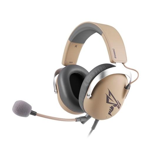 Somic G805 USB Gaming Wired Headset 7.1 Surround Sound Cuffie con microfono collegabile (marrone)