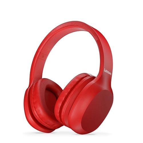 Lenovo HD100 Wireless BT Headset BT5.0 Geräuschunterdrückendes Stereo-Headset Gaming-Kopfhörer für Mobiltelefon PC Laptop Rot