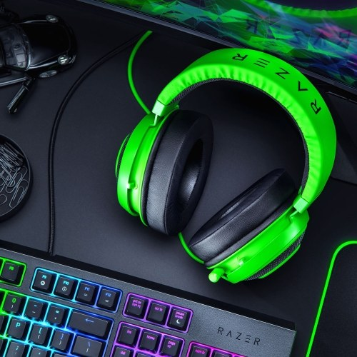 Razer Kraken Gaming Headset Earphone Headphone 2019 Cooling-Gel Layer Retractable Noise Cancelling Microphone for PC, Mac, Xbox, PS4, Nintendo Switch (Green)