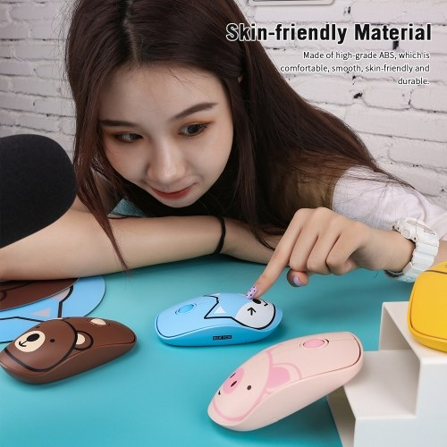 FD E680 2.4G Wireless Mouse Super Cute Cartoon Style ABS Silent Clicks Ergonomic Mute Mice With Mouse Mat Low Power Consumption Brown