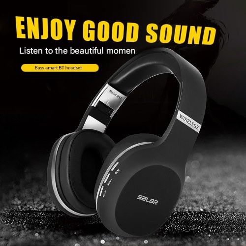 Salar N12 Wireless BT Gaming Headset HiFi Deep Bass Headphone PC Gamer Stereo Earphone Noise Cancelling Earphone Red
