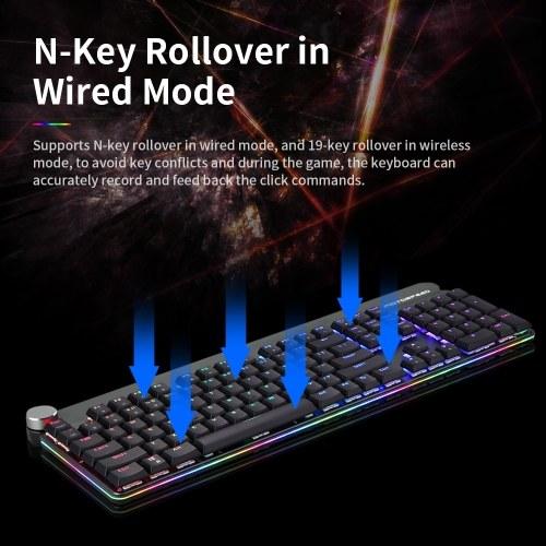 Tastiera meccanica Motospeed GK81 cablata e 2.4G Dual Mode retroilluminazione RGB a basso profilo Tastiera tastiera 104 tasti N tasto Rollover Keycaps mobili per PC Red Switch