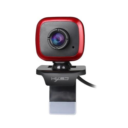 HXSJ A849 USB-Webkamera 480P Computerkamera Handbuch Focus Webcam mit schallabsorbierendem Mikrofon für PC Laptop Schwarz + Rot