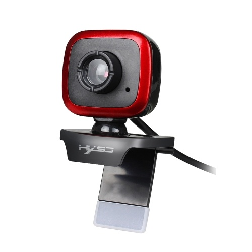 HXSJ A849 USB Web Camera 480P Computer Camera Manual Focus Webcam with Sound-absorbing Microphone for PC Laptop Black+Red