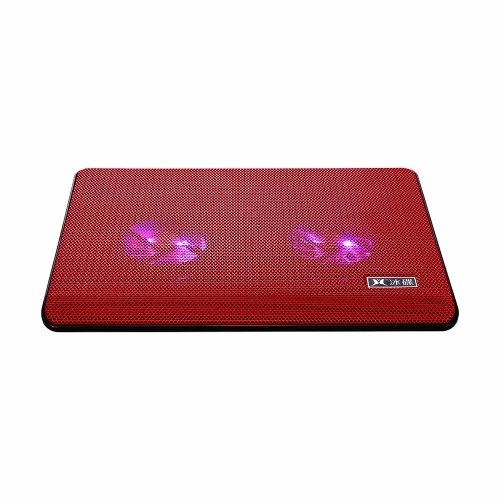Ultra-thin Laptop Cooler Laptop Cooling Pad with Two Fans Two USB Ports Suitable for Laptops Under 17 inch Red