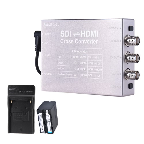 Feelworld SDI HDMI Video Audio Cross Converter Adapter Kit w/ 6600mAh Battery + Battery Charger SDI/HDMI Input HDMI/2-way SDI Output 1080P Broadcast Support 3G/HD/SD-SDI Conversion