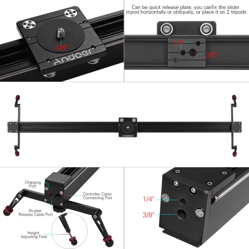Andoer 1m/3.3ft Electric Control DSLR Camera Slider Stabilizer + Ball Head TOMTOP