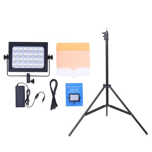 Zifon ZF-6000 LED Video Panel Light Kit w/ 200cm/6.56ft Light Stand for DSLR Camera Camcorder Photo Studio