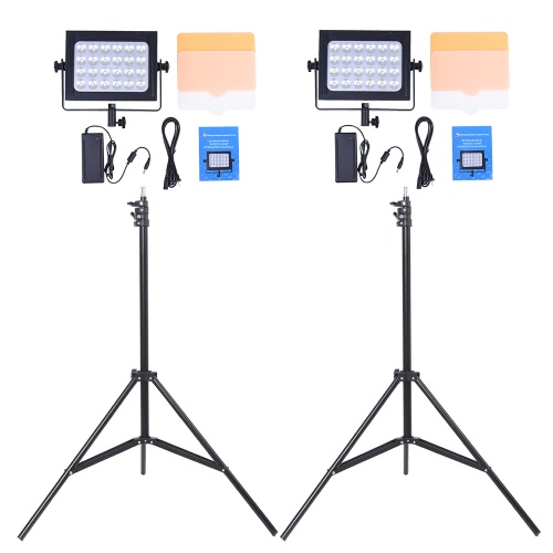 Photography 24 LED Studio Lighting Kit w/ 2 * ZF-6000 Dimmable Ultra High Power Video Panel Light + 2 * 200cm/6.56ft Adjustable Light Stand for DSLR Camera Camcorder