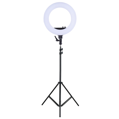 18 Inch LED Video Ring Light Fill-in Lamp Studio Photography Lighting 55W Adjustable Brightness 3200-5500K Color Temperature with