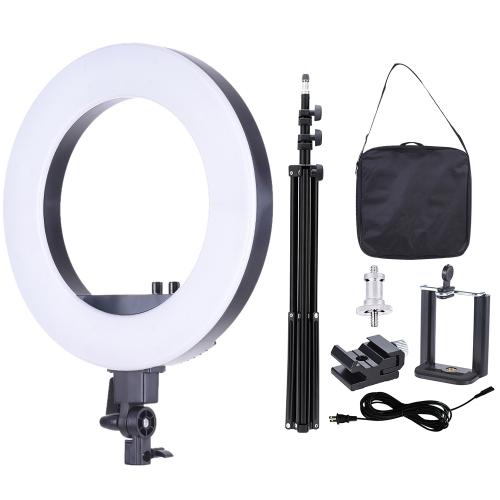18-дюймовый светодиодный видеоролик с подсветкой Заполняющая лампа Студийное освещение для фотосъемки 55 Вт Регулируемая яркость 3200-5500K Цветовая температура с держателем смартфона Батарея для холодной обуви Сумка для переноски + 2 м / 6,6 футов