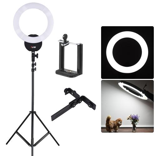 """FalconEyes FLC-55 16-calowa lampa fluorescencyjna z pierścieniem świetlnym 55W 5600K Studio Portrait Oświetlenie z białym filtrem + 2 m / 6,6 stopy Photo Studio Statyw oświetleniowy ze śrubą 1/4 """"+ regulowany uchwyt na telefon z 1/4"""" śrubowym otworem"""