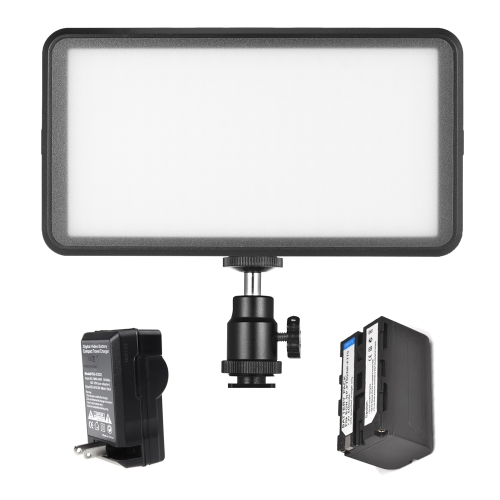 Andoer Ultra-thin Studio Video Photo LED Luz de vídeo Light Lamp 3200K / 6000K 20W Dimmable 228pcs Beads com 4400mAh bateria recarregável + carregador para Canon Nikon DSLR Camera DV Camcorder