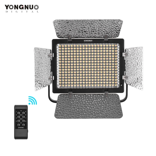 YONGNUO YN320 Professional On-Camera Bi-Color Dimmable LED Video Light APP Control 3200K/5500K CRI95+ with U-type Bracket Stand + 12V 2A Power Adapter for Canon Nikon Sony DSLR Cameras