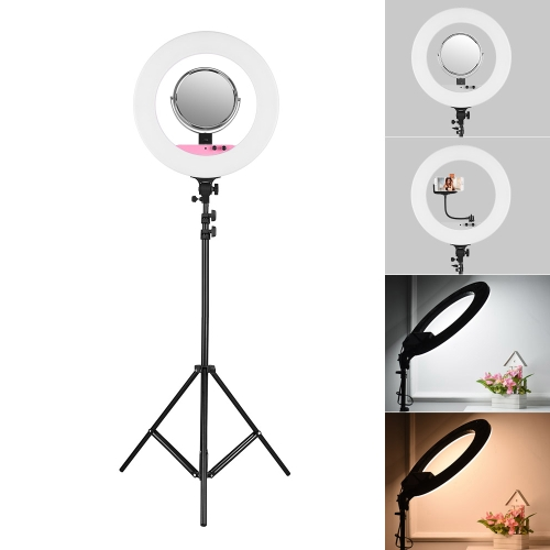 18-calowy zestaw LED Video Ring Light z 2-metrowym statywem / lustrem / uchwytem telefonu / worek 80W z funkcją ściemniania 3200K-5800K dwukolorowy do oświetlenia studia fotograficznego