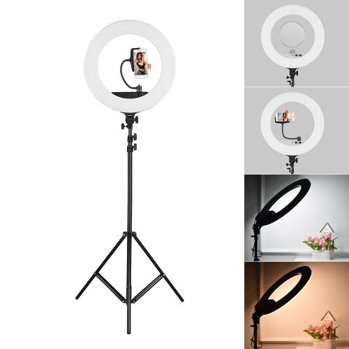 18-calowy zestaw LED Video Ring Light z 2-metrowym statywem światła / uchwytem do telefonu / torba 80W z funkcją ściemniania 3200K-5800K dwukolorowy do oświetlenia studia fotograficznego