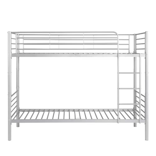 iKayaa Twin-Over-Twin Metal Bunk Bed Frame White