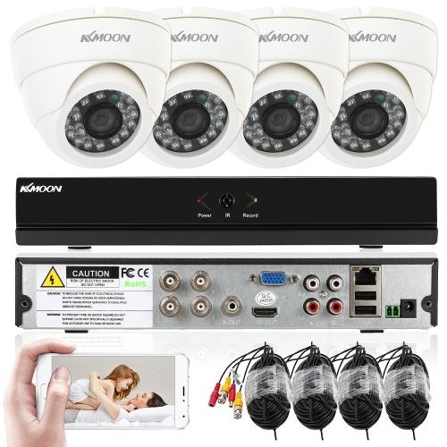 KKmoon 4ch Kanal volles 960H / D1 800TVL CCTV-Überwachung DVR Sicherheitssystem P2P Wolken-Netz-Digital-Videogerät + 4 * Innenkamera + 4 * 60ft Kabel