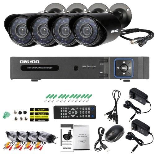 OWSOO 4CH H.264 Full 1080 N DVR + 4 * 1500TVL Wasserdichte CCTV Kugel Kamera + 4 * 60ft Überwachungskabel + 1 TB Seagate Festplatte