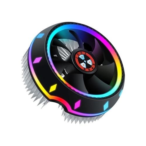 All-in-one CPU Air Cooler Design UFO Illuminazione a 5 colori Configurazione push Presa universale Intel / AMD con cuscinetto fluido Argento