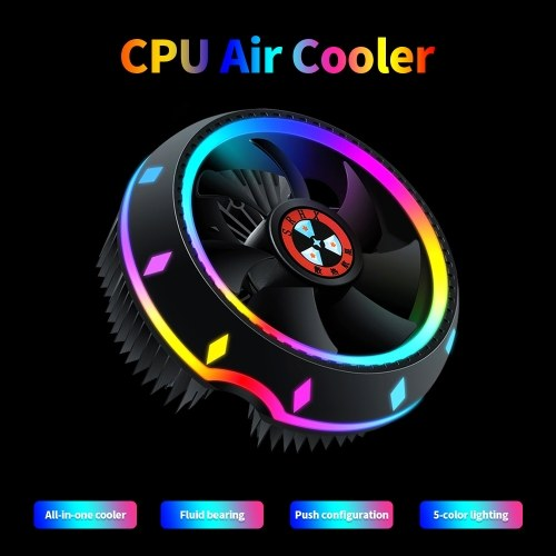 All-in-one CPU Air Cooler UFO-designed 5-color Lighting Push Configuration Intel/ AMD Universal Socket with Fluid Bearing Silver
