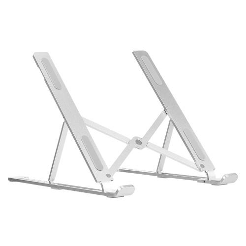 Supporto per laptop in lega di alluminio Supporto per laptop regolabile in altezza a 6 livelli Supporto per tablet portatile pieghevole antiscivolo portatile Argento