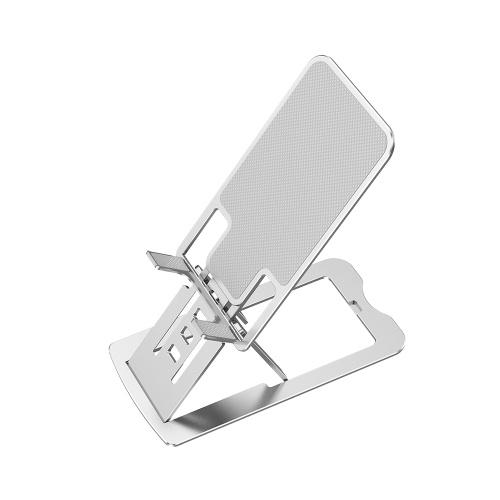 7-уровневая регулируемая по высоте подставка для телефона Складная ультратонкая портативная подставка из алюминиевого сплава для телефона / планшета 12 дюймов Серебристый