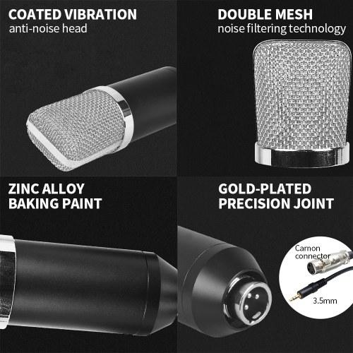 Professional BM700 Condenser Microphone Sound Recording Microphone Mic KTV Singing Studio Recording Kit Black+Silver