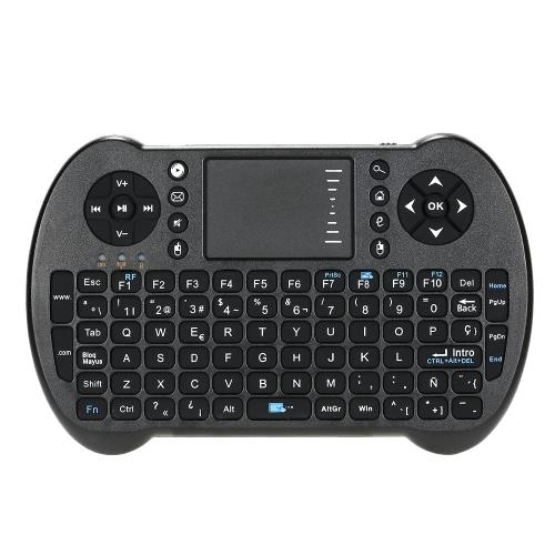 2.4G Mini USB inalámbrico Inglés Español Ruso versión hebrea del teclado touchpad y aire ratón de la mosca de control remoto de Windows para Android TV Box Móvil