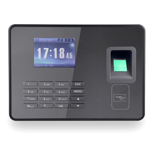 Engenharia Flagship Biometric Fingerprint Attendance Machine Employee Checking-in Recorder TCP / IP 2,8 polegadas LCD Screen DC 5V Time Atendimento Relógio