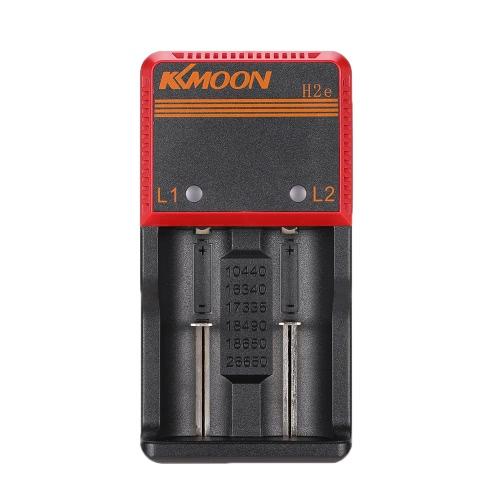 KKmoon portátil compacto 3.65V Li-ion 1.2V NIMH NICD 18650 Dual 2 Slots carregador de bateria multifuncional inteligente com LED indicador Carregador Universal Car Suporta Voltage AC DC para a Universal AA / AAA / 26650/18650/18490/17335/16340/10440 bateria recarregável
