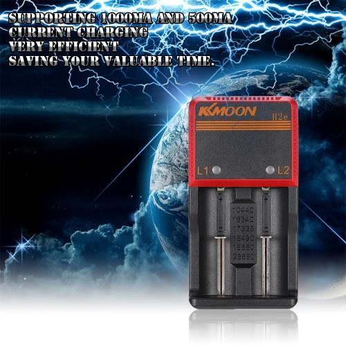 KKmoon portatile compatto 3,65 Li-ion 1.2V NIMH NICD 18650 Dual 2 slot multifunzione Smart Charger batteria con indicatore di carica Universal Car LED Supporta AC DC tensione per Universal / 26650/18650/18490/17335/16340/10440 batteria ricaricabile AA / AAA