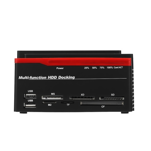 "Multifunktionale 2,5 ""/ 3,5"" USB 3.0 zu 2 SATA-Ports 1 IDE-Port Externe Festplatte Festplatte Docking Station Kartenleser USB3.0 Hub mit OTB / OTC Offline Klon / Duplicator US-Stecker 6TB"