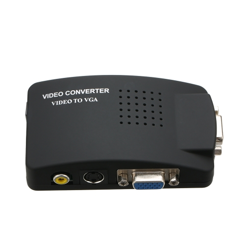 PC Laptop RCA Composto AV S-video Video TV para PC VGA Converter Adapter Switch Box para HDTV DVD Monitor US Plug