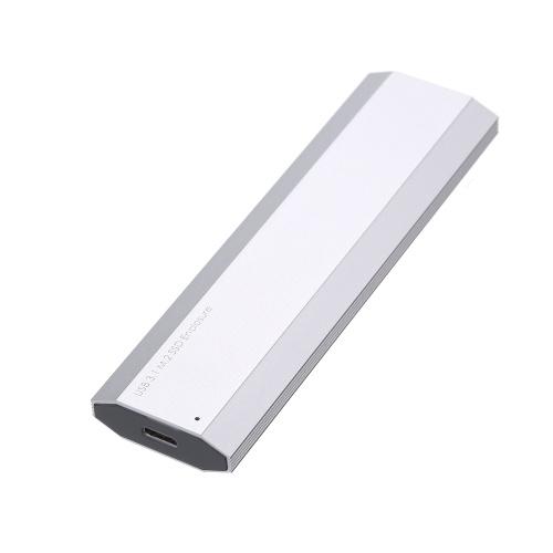 USB3.1 Typ C NGFF (M.2) SSD-Gehäuse 10 Gbit / s schnellere Datenübertragung Tragbares externes Solid-State-Laufwerk (Silber)
