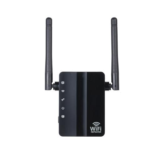 WiFiリピータワイヤレス300MbpsルーターAPモードWiFiエクステンダ2.4Gワイヤレスリピータ(ブラック)