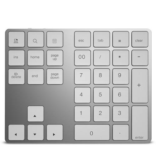 Wireless Numeric Keyboard Aluminium 34 Key BT Keyboard Built-in Rechargeable Battery Keypad for Windows/iOS/Android (Silver)