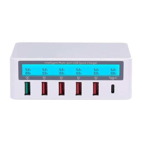 Stazione di ricarica intelligente con 6 porte Dock di ricarica USB LCD QC3.0 Ricarica rapida Stazione di ricarica di compatibilità universale per uso in famiglia e in ufficio