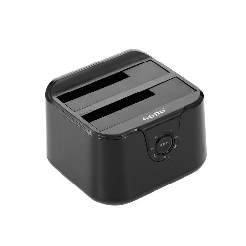 Estação de ancoragem para disco rígido USB 3.0 a 2.5 / 3.5inch Caixa de disco rígido SATA Dual Bay HDD SSD UASP Instalação rápida sem ferramentas de velocidade rápida (preto)