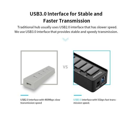 OImaster 4 порта USB 3.0 концентратор 5 Гбит / с Высокоскоростной концентратор Поддержка быстрой зарядки Windows / XP / Linux / Mac / Mix фото