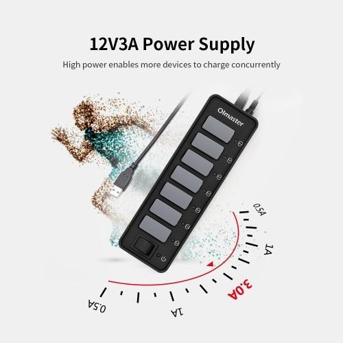 OImaster 7 портов USB 3.0 концентратор 5 Гбит / с Высокоскоростной концентратор Поддержка быстрой зарядки Windows / XP / Linux / Mac / Mix с адаптером питания фото