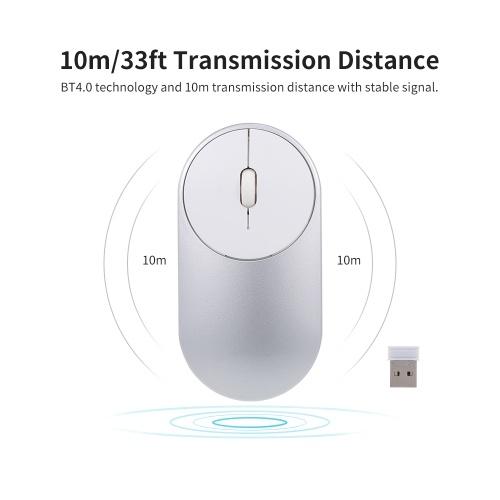 BT Wireless Maus Dual Mode Slim Silent Corldless Maus mit BT4.0 und 2.4G Kompatibel mit Laptop / PC / Windows / Mac (Silber)